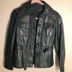 Dark green vintage leather ladies belted jacket xs